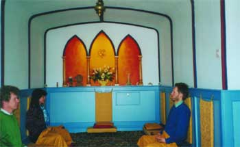 Meditators in the Meditation Sanctuary at the Self-Realization Meditation Healing Centre, Queen Camel, Somerset, UK