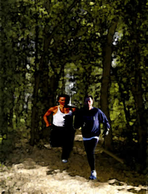 running in a forest