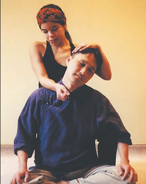 The Rolling Neck Massage: This releases muscular tension along the upper trapezius and relaxes the shoulders.