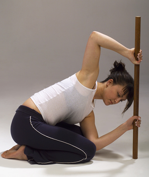 D.    (Hands and Knees) Spiraling through Core: Use a wooden rod, the back of a chair or any solid pole like structure (or explore in hands and knees position).