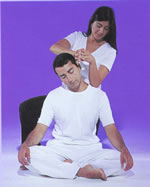 Neck-Elbow. The therapist uses her elbow to apply pressure to the shoulder area while stretching the neck