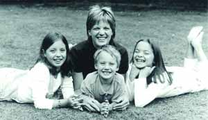 Elizabeth Irvine - Author with her three children. Left to right: Allie, Sam and Sarah.