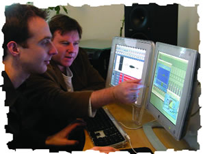 Geoff and Simon editing the Audio Courses