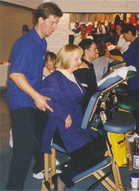 Seated chair massage at an exhibition