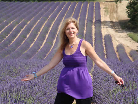 The author in a lavender field