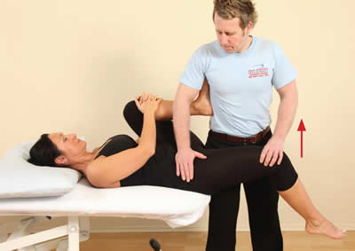 The patient flexes their right hip against the therapist's resistance. The therapist is stabilizing the right hip with their right hand.