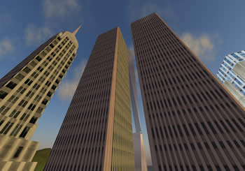 A virtual resurrection of the Twin Towers, destroyed in the 911 attacks.