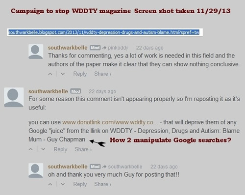 WDDTY Search Engine Blocking
