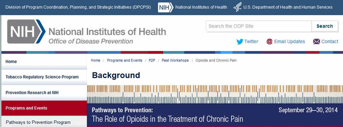 NIH Role of Opoids in Treatment of Chronic Pain