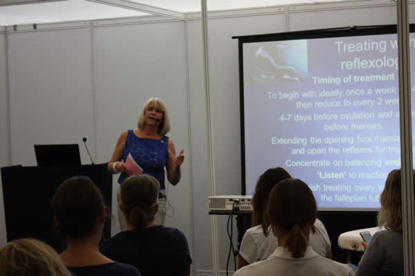 Julie Quinn Lecturing about Reflexology