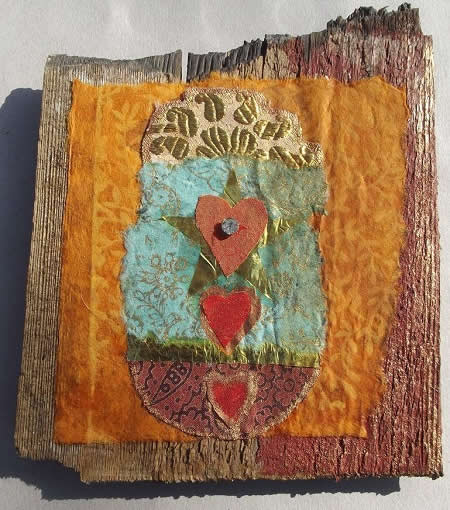 A characteristic piece of Heidi's art work using reclaimed material