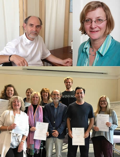 Top: Jonathan Lawrence BA DO Cert Ed and Rosemary Lawrence Dip BFD Cert Clin Hom Cert Ed  Bottom: Craniosacral Course 2019