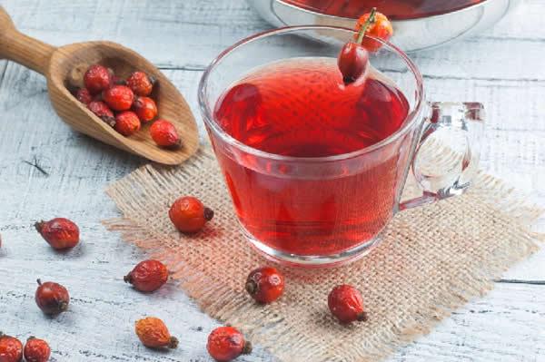 Dried rose hip herbal tea