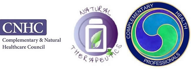 Logos (Left to Right for CNHC, Natural Therapeutics, CHP